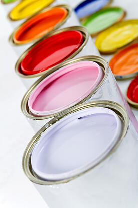 Paint cans on different colors - isolated over white-1